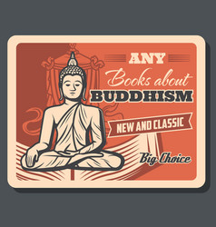 Buddhism religion teaching literature books poster vector
