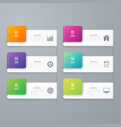 Business infographics template 6 steps with square vector