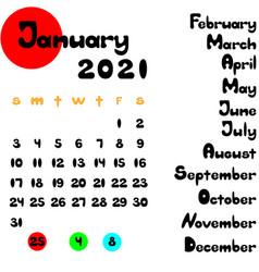 Calendar 2021 template 12 months lettering vector