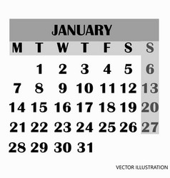 calendar design month january 2019 vector image