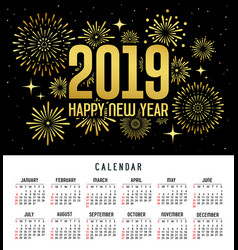 calendar happy new year 2019 firework gold vector image