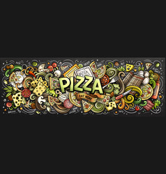 Cartoon cute doodles pizza word vector