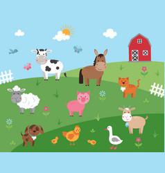 Cartoon with farm animals vector