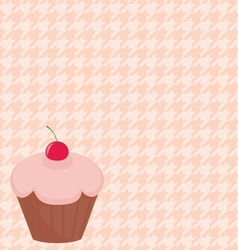 Cherry cupcake on pink houndstooth background vector