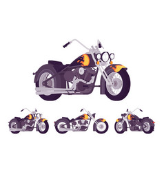 chopper custom motorcycle bright black set vector image