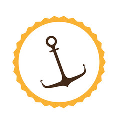 circular frame with anchor icon vector image