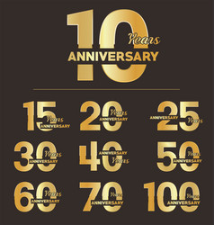 collection anniversary golden logotype vector image