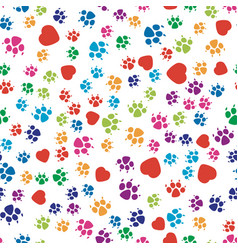 Colorful dog footprint and red heart symbols vector