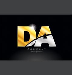 Combination letter da d a alphabet with gold vector