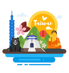 Composition of taiwan cultural symbols vector