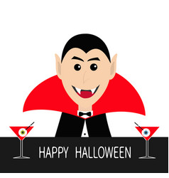 count dracula head face wearing black and red vector image
