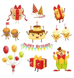 Cute Birthday Party Celebration Related Objects vector image