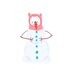 cute funny nowman character in a hat christmas vector image