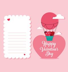 Cute hearts couple in balloon air hot love card vector