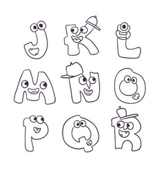 cute monsters doodle alphabet abc vector image