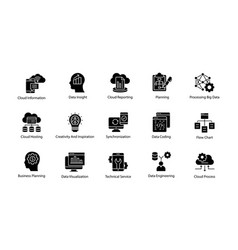 Data science solid icons set vector
