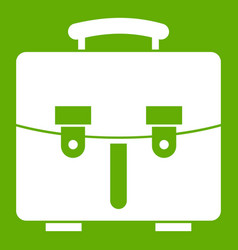 Diplomat bag icon green vector