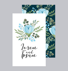 elegant wedding card flowers ornate decoration vector image