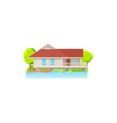 facade house on water with canoe boats isolated vector image