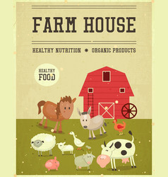 farm house retro poster vector image