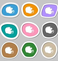 Football helmet symbols Multicolored paper vector