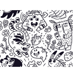 funny creatures seamless pattern for coloring book vector image