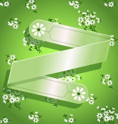 Green floral satin ribbon background vector image