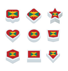 Grenada flags icons and button set nine styles vector