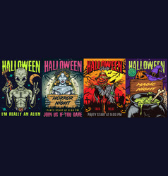 Halloween party colorful vintage posters vector