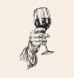 Hand holds a wine glass alcoholic drink hand vector