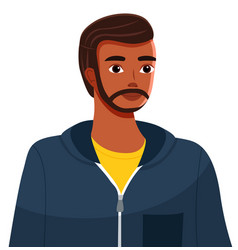 Handsome black or ethnic bearded guy or young vector