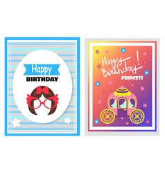 happy birthday set of cards vector image