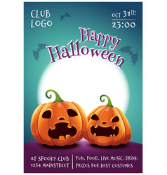 happy halloween editable poster with scared and vector image
