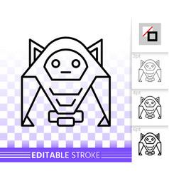 humanoid simple black line icon vector image