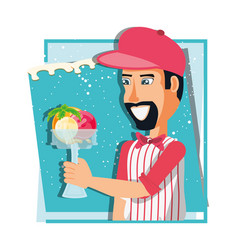 Ice cream salesman with cup character vector