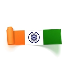 India flag on realistic scroll textile ribbon vector