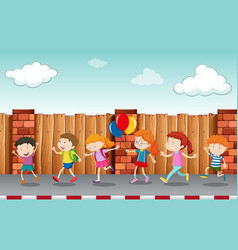 Kids walking on pavement vector