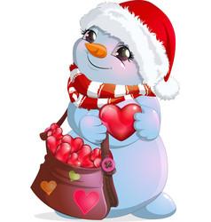 little snowman postman vector image