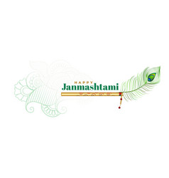 Lord krishna flute and peacock feather vector