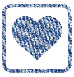 love heart fabric textured icon vector image