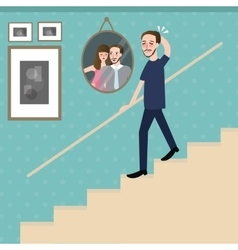 Man walking on stairs feel sad lonely looking vector