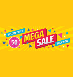 mega sale concept horizontal banner template vector image