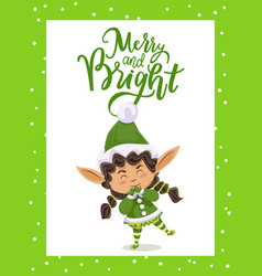 Merry and bright christmas elf greet with holiday vector