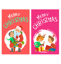 Merry christmas holidays children opening presents vector