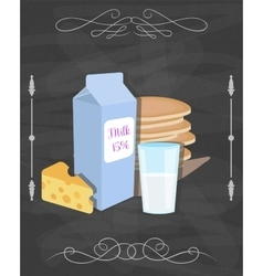Milk food still life poster Restaurant vector image