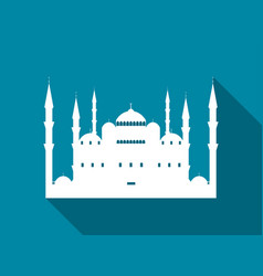 mosque with a long shadow blue mosque flat icon vector image