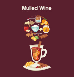 Mulled wine ingredients recipe with glass and vector