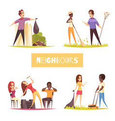Neighbors 2x2 design concept vector