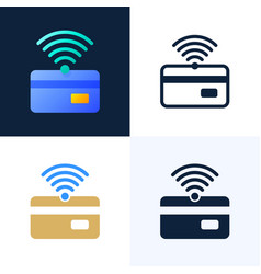 nfc payment and credit card stock icon set vector image