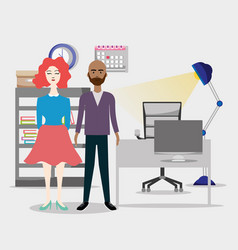 office coworkers cartoons vector image